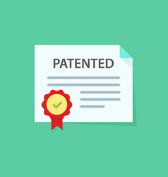 patented document with approved stamp icon vector image vector image