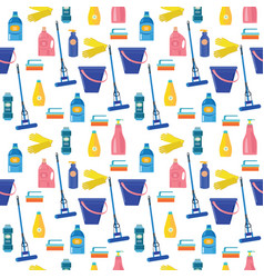 Pattern with colored cleaning tools and equipment vector