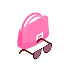 Pink italian bag and black glasses icon vector