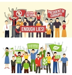 Political and ecological demonstrations horizontal vector