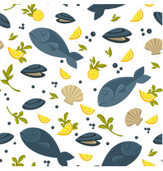 salmon fish and oysters in shell in endless vector image vector image