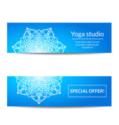 Set of banners with white mandala for yoga studio vector