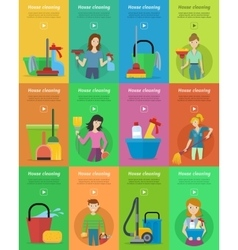 Set of house cleaning banners vector