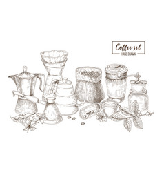 Set of kitchen utensils and tools for coffee vector