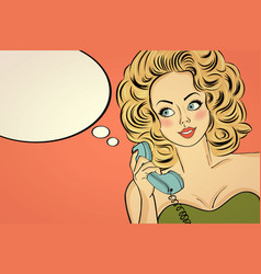 Sexy pop art woman in party dress talking on a vector