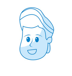 Silhouette happy and nice head boy with hairstyle vector