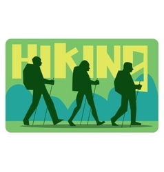 Silhouettes of tourists hiking vector