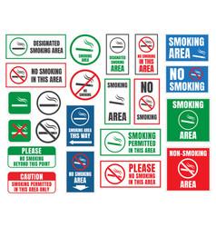 smoking area and no smoking signs vector image vector image