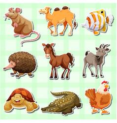 Sticker design for many animals vector