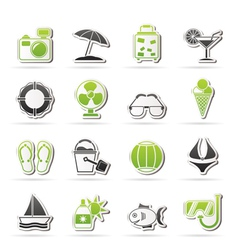 Summer and beach icons vector image vector image