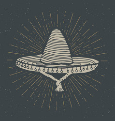 Vintage label hand drawn sombrero mexican vector