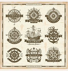 vintage nautical labels collection vector image