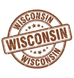 Wisconsin brown grunge round vintage rubber stamp vector