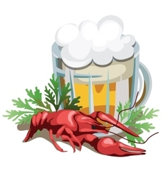 Mug of beer with boiled crawfish vector