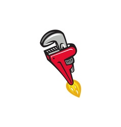 Pipe wrench rocket booster blasting off retro vector