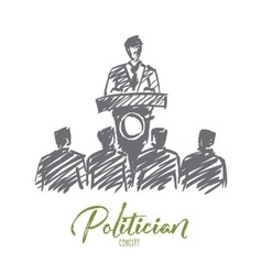 Hand drawn politician orating from tribune vector