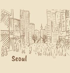 Shopping street at myeongdong vector