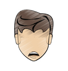 Drawing man head hairstyle vector