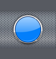 blue round button on metal perforated background vector image