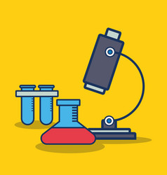 Microscope and chemical flask icon vector