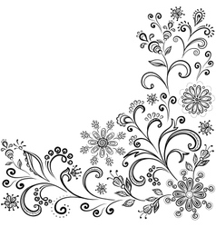 Floral contour background vector