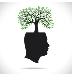 Green tree on head human head vector