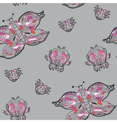 seamless pattern ornamental butterfly vector image