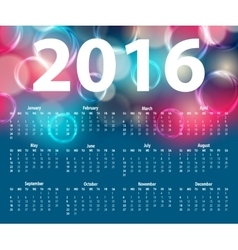 Elegant template for 2016 calendar vector