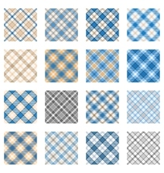 Plaid patterns collection light blue and beige vector