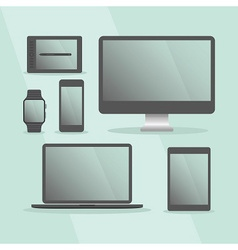 Modern digital devices set with black frames vector