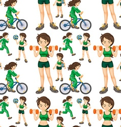 Seamless woman doing exercises vector