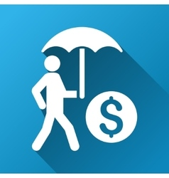 Walking investor with umbrella gradient square vector