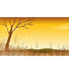 A landscape with a dying tree vector
