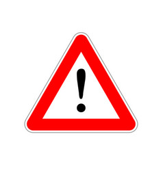 Attention bright red warning sign on white vector