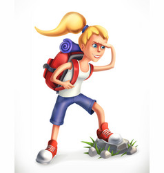 backpacking tourist girl with backpack 3d icon vector image vector image