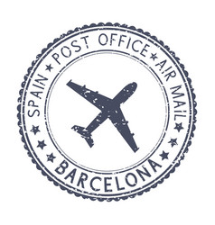 black stamp with barcelona spain and aircraft vector image vector image