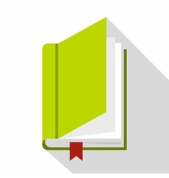 Book with bookmark icon flat style vector