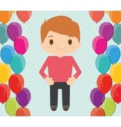 Boy cartoon and happy birthday design vector