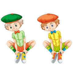 boys in different color shirts vector image vector image