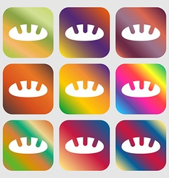 Bread icon Nine buttons with bright gradients for vector image vector image