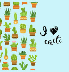 cacti in plant pots with vector image vector image