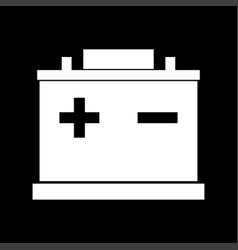car battery white color icon vector image vector image