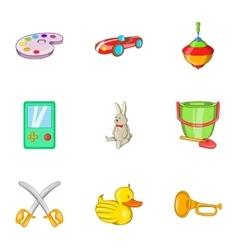 Child play icons set cartoon style vector