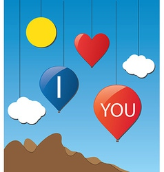 cloud love baloon vector image vector image