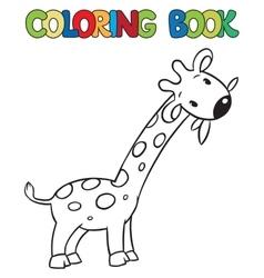 Coloring book of little funny giraffe vector