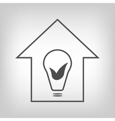 Eco house with bulb and leaves vector