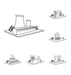 Factory and plant outline icons in set collection vector