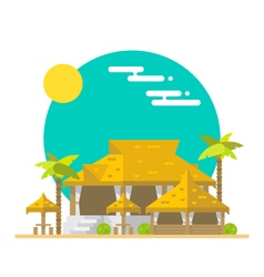 Flat design of beach bar and restaurant vector image