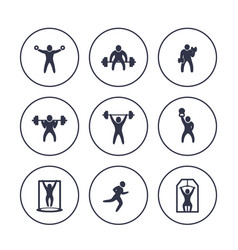 gym fitness exercises icons in circles over white vector image vector image