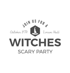 Halloween witches party label template with hat vector
